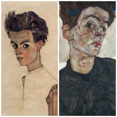 """Egon Schiele; left: """"Self Portrait"""" (1910); right: Self Portrait with Physalis"""" (1912)"""