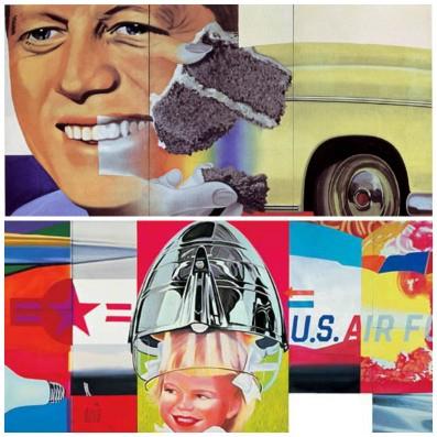 "James Rosenquist; top: ""President Elect"" (1960–61); bottom: ""F-111″ (1964–65)"
