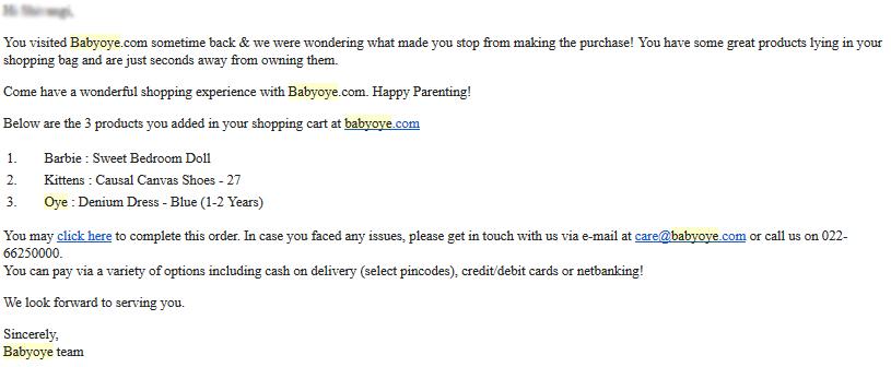 shopping cart abnadonment email babyoye