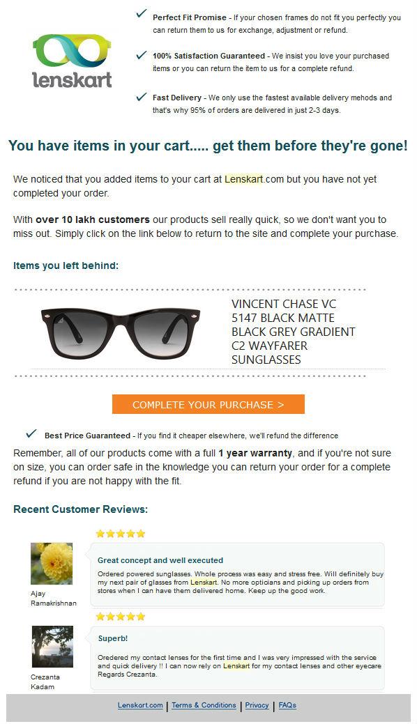 shopping cart abnadonment email lenskart