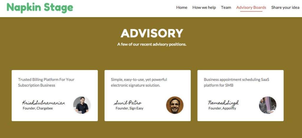 Screenshot of NapkinStage's Website After A Few Days