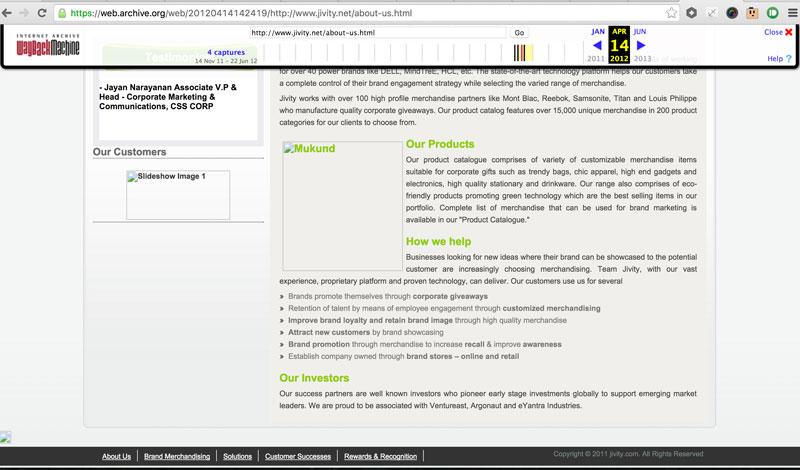 Screenshot of Jivity's Old Site via Archive.org