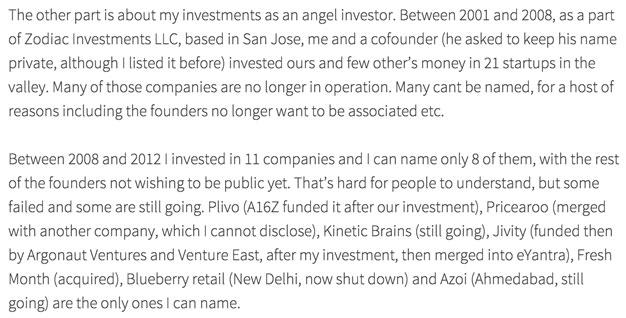 Screenshot from Mukund's Blog Post