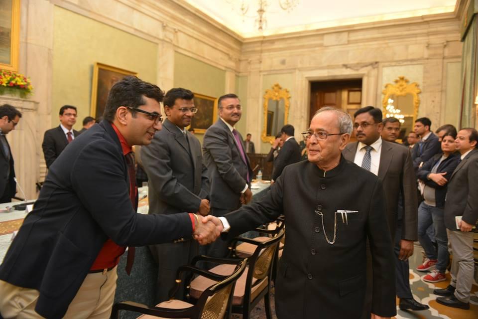 Vishal Gondal, founder & CEO of GOQii Inc with President Pranab Mukherjee
