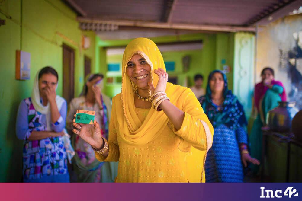 The lady with Bhamashah Card - Digital Rajasthan Yatra