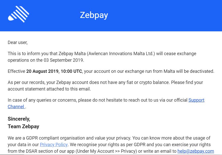 Zebpay shuts down Malta operations