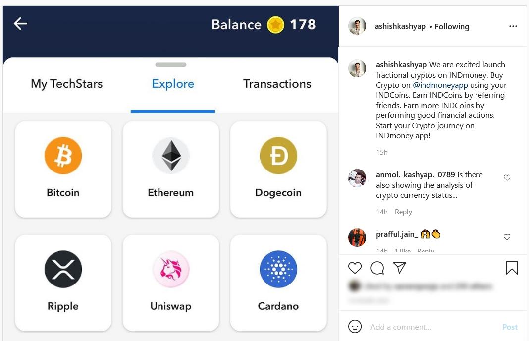 INDMoney Crypto investments added