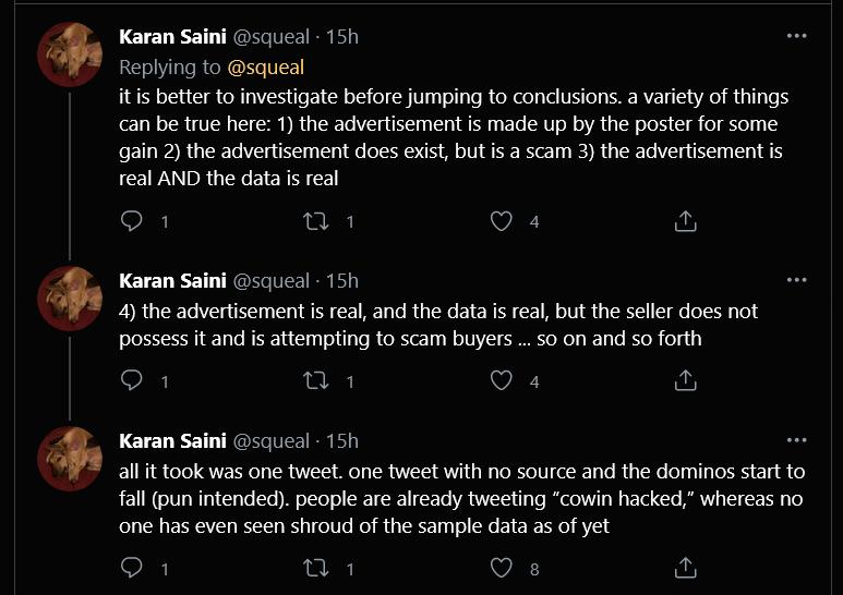 Cowin data leak tweet