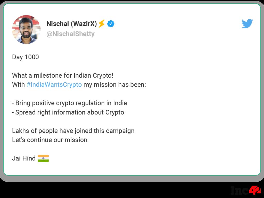 Nischal Shetty Tweet IndiaWantsCrypto