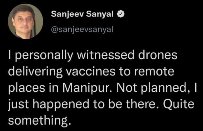 ICMR Begins Vaccine Delivery By Drones In Manipur - Sanjeev Sanyal